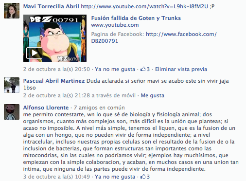 """Aportaciones """"Fusión de seres vivos"""" por facebook II"""
