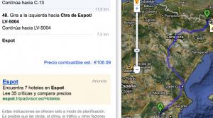 Ruta de Cehegín a Espot y consumo estimado