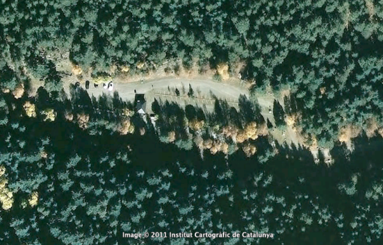 Imagen desde avión del Parking de Espot del Parque Nacional Aigüestortes