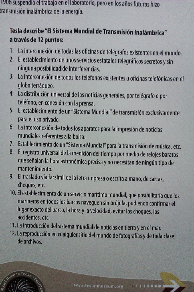 12 puntos del Sistema Mundial de Transmisión Inalámbrica de Nikola Tesla