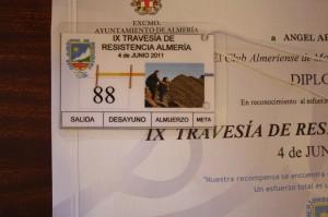 Tarjeta control IX Travesía de resistencia Almería 2011