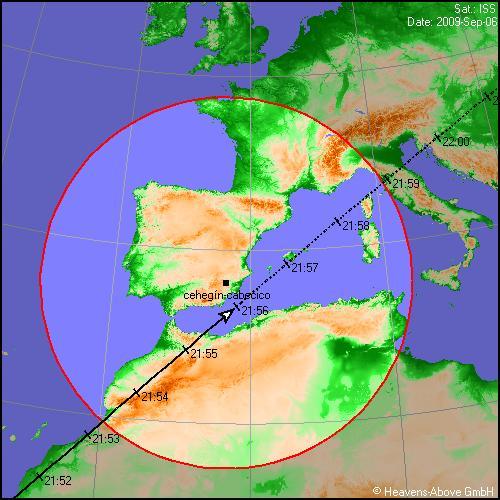 Paso de la ISS el día 6 a las 21:55h, cerca de la Región de Murcia